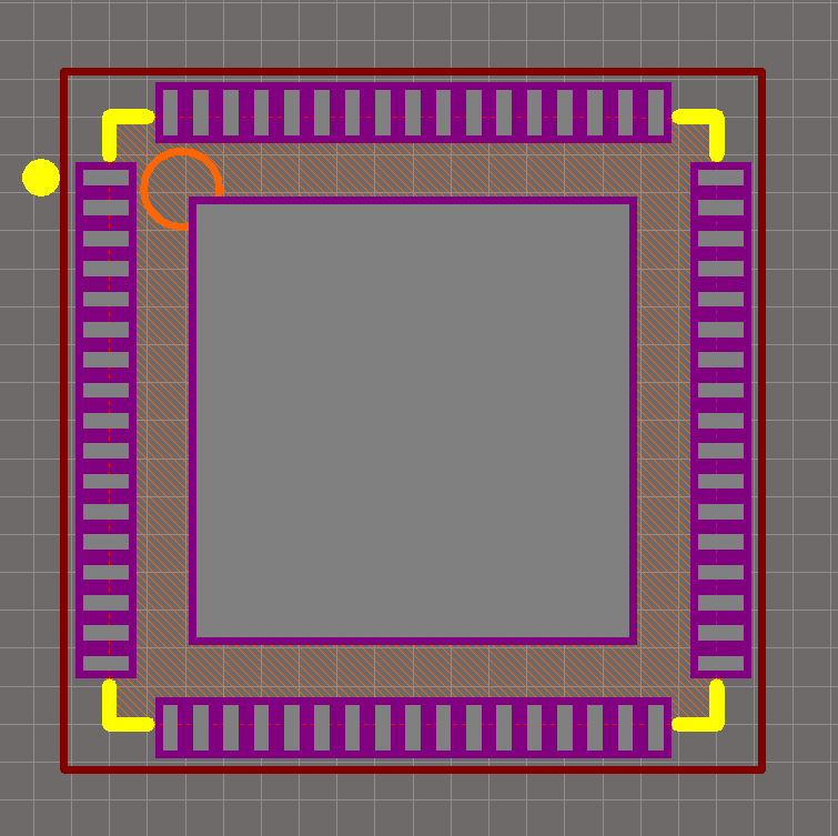 A QFN-68 package with no solder paste aperture reduction on the center pad (not recommended).