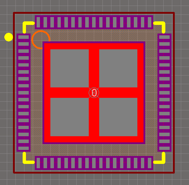 A QFN-68 package with solder paste aperture reduction on the center pad (recommended).