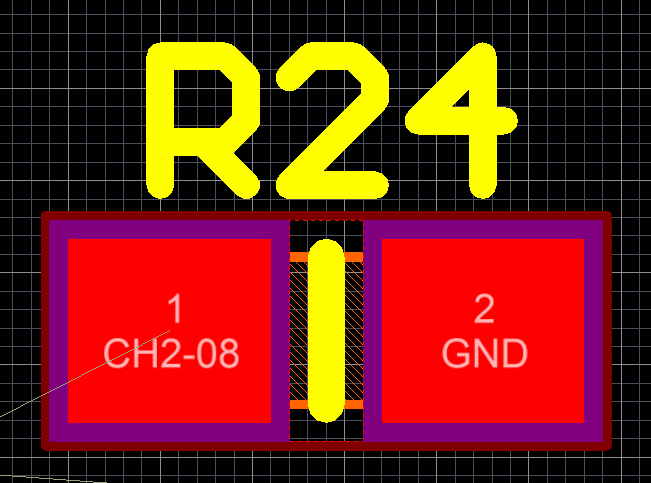 A 0603 resistor and it's designator inside a CAD packages PCB design file.