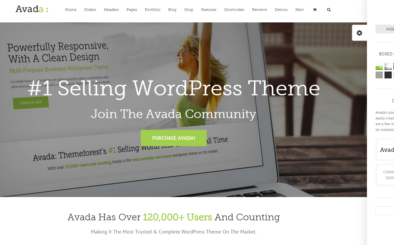 A screenshot of the Avada Wordpress theme homepage as of 2015-04-03. Image from http://theme-fusion.com/avada/.