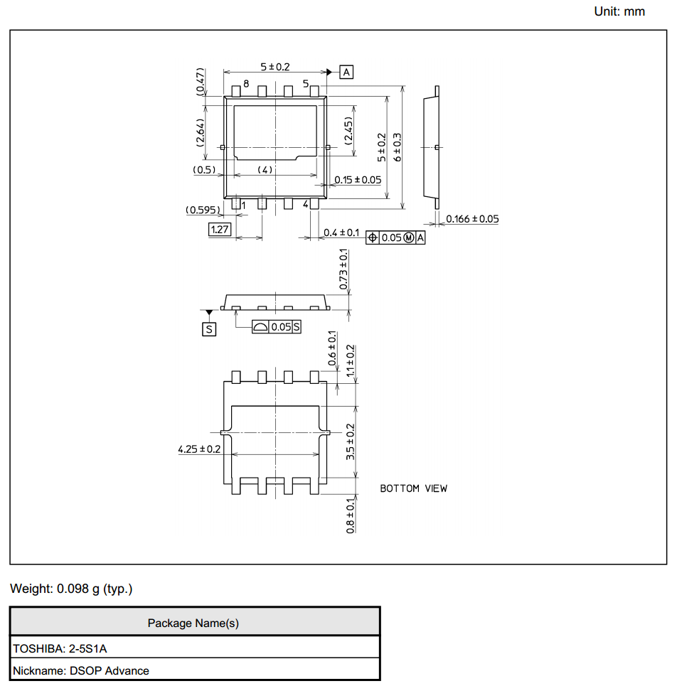 The dimensions for the DSOP Advance component package.