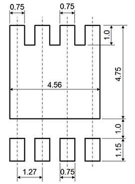 The recommended land pattern for the DSOP Advance component package.