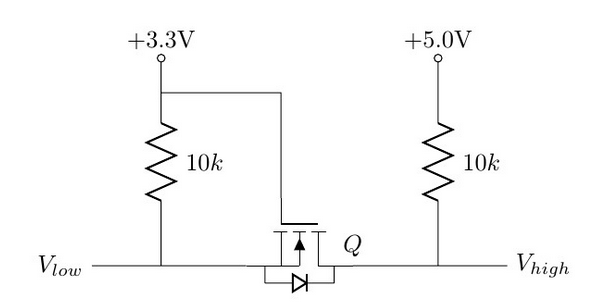 An example schematic of bi-directional voltage-level translation using a MOSFET.