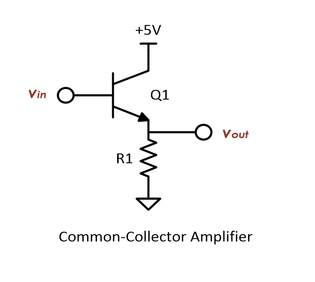 The basic schematic of a common-collector BJT amplifier.