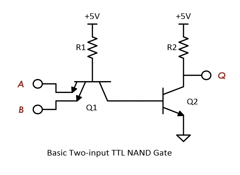 The schematic of a basic two-input TTL NAND gate.