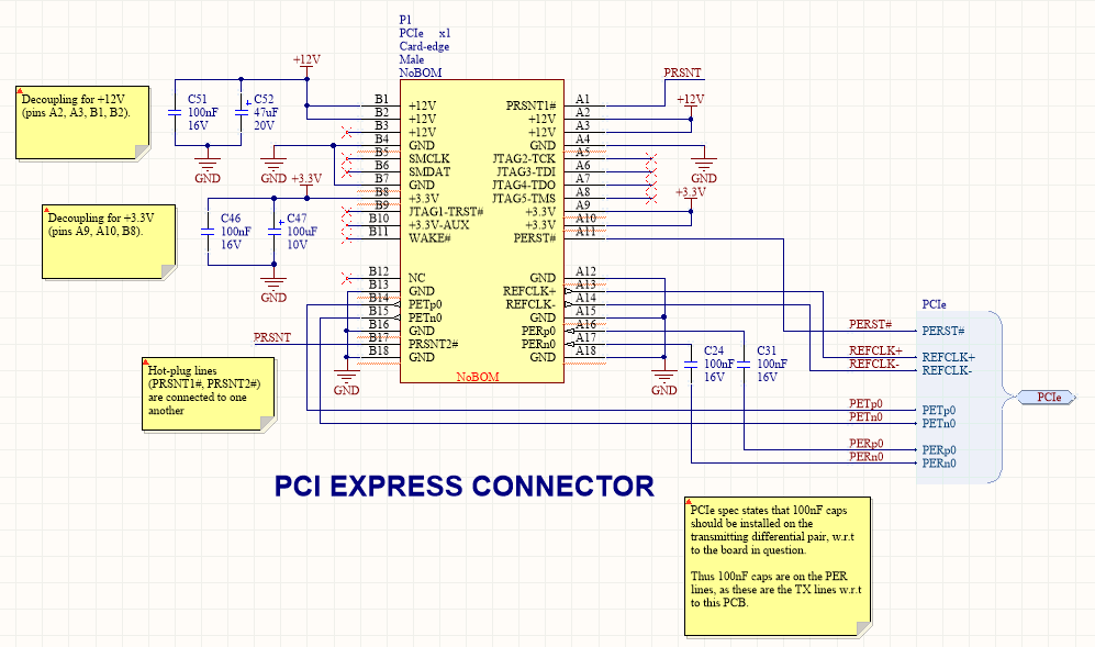 A PCIe card-edge connector schematic symbol and associated components.