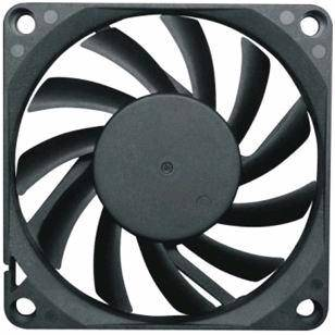 A photo of a standard computer cooling fan.