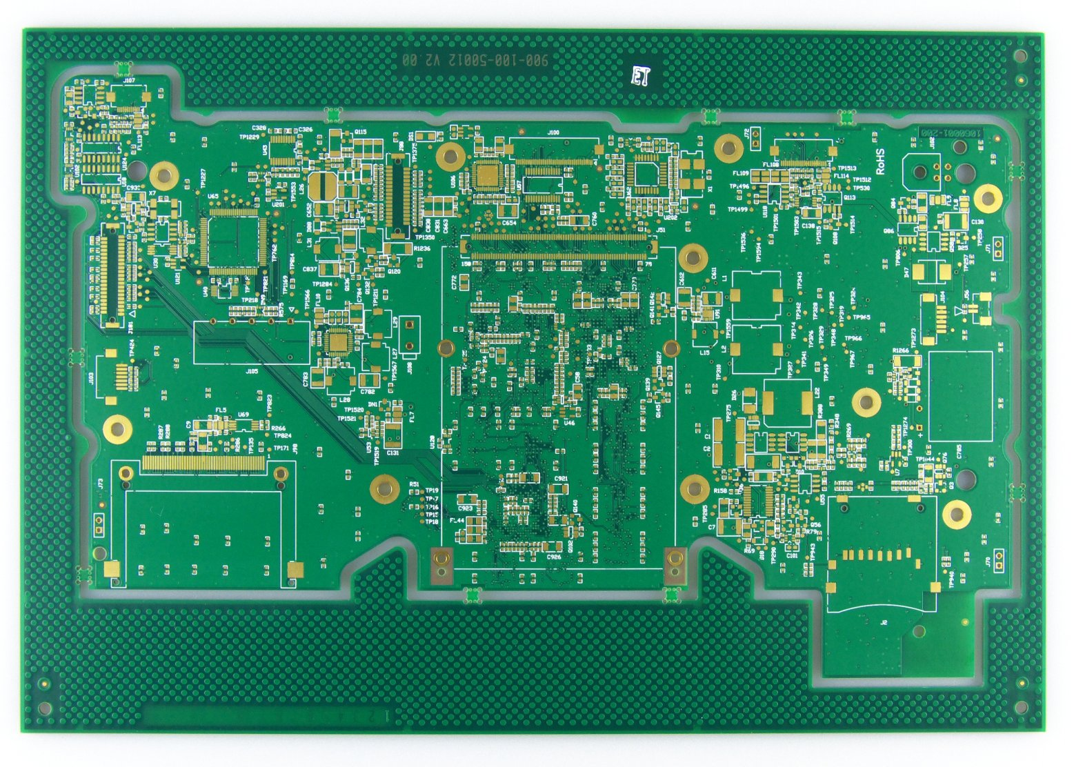 Example of an immersion gold PCB surface finish. Image from http://www.standardpcb.com/.