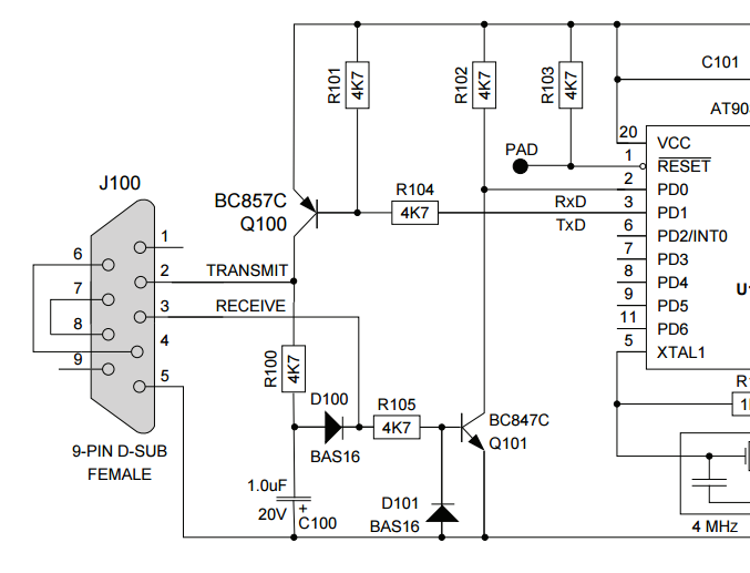 The schematic of a cheap, discrete-part RS-232 to TTL logic-level converter. Image from Atmel AVR910 (http://www.atmel.com/).