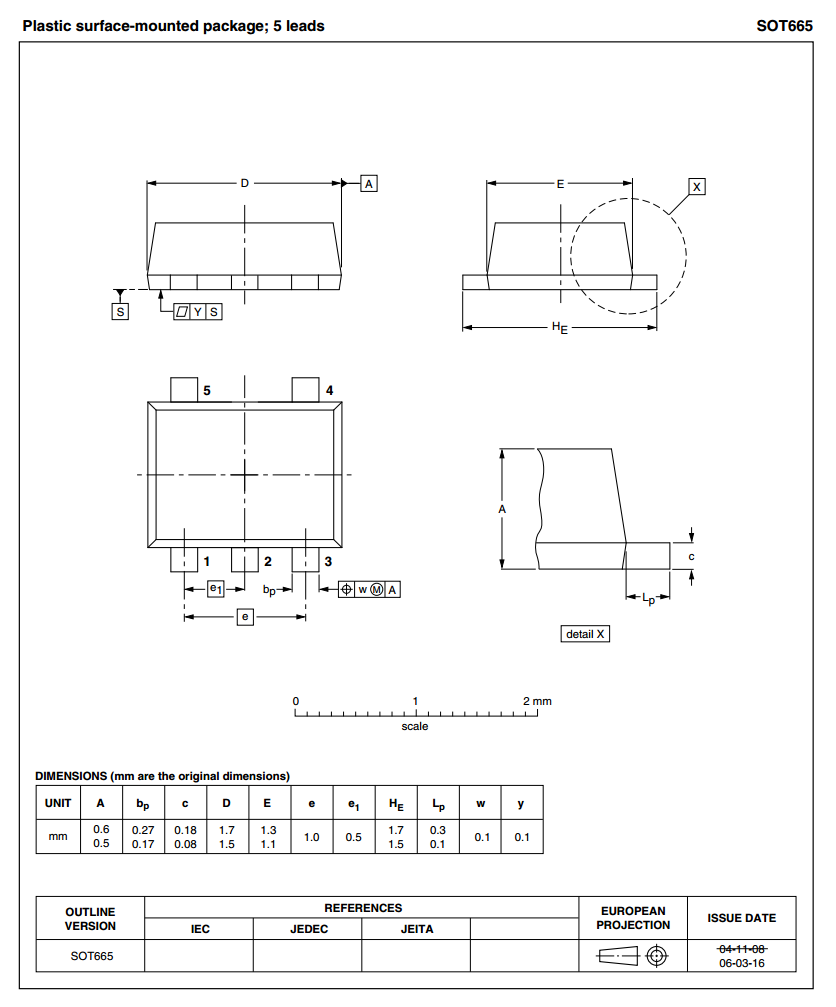 The dimensions for the SOT-665 component package. Image from http://www.nxp.com/.