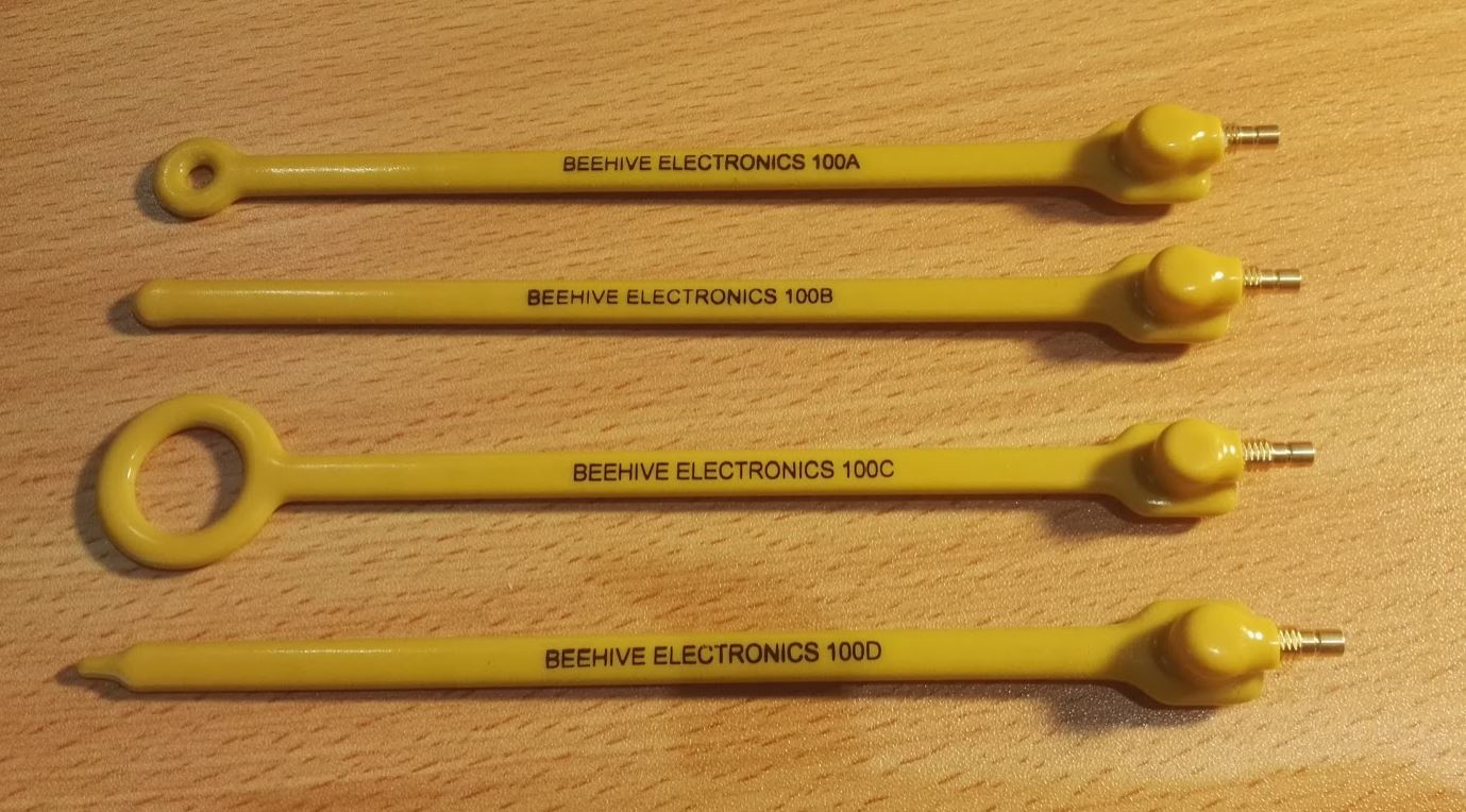 The four non-contact EM probes made by Beehive Electronics. Three are for magnetic field measurement and one is for electric field measurement.
