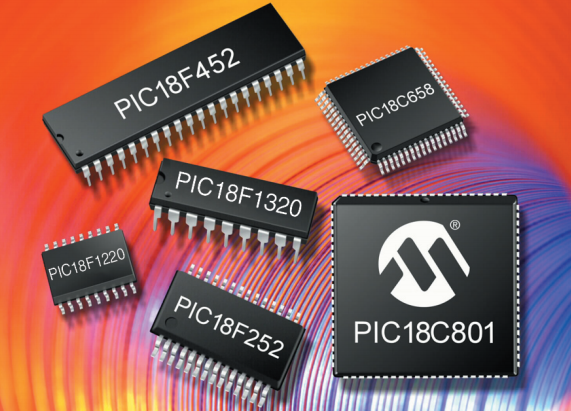 Marketing render of a range of microcontrollers from the Microchip PIC18 family. Image from http://ww1.microchip.com/.