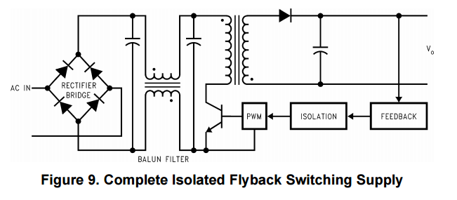 Schematic of a isolated off-line switcher by TI. Image from http://www.ti.com.