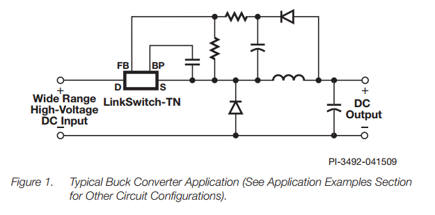 A typical application schematic for the LinkSwitch-TN family of non-isolated off-line switchers by Power Integrations. Image from www.power.com.