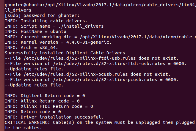A snapshot of the terminal output while installing the Xilinx 'Digilent' JTAG drivers on Ubuntu.