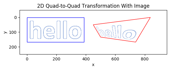 A quad-to-quad transformation of an image, going from a rectangle to a complex non-rectangular quadrilateral with no parallel edges.