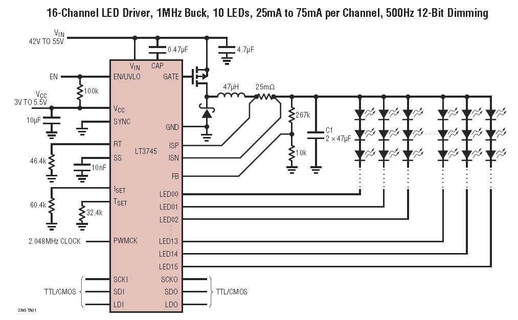 The LT3745 LED driver by Linear Technology is a advanced driver which can individually control the current for up to 16 LED circuits. Image from http://cds.linear.com/docs/en/datasheet/3745f.pdf.