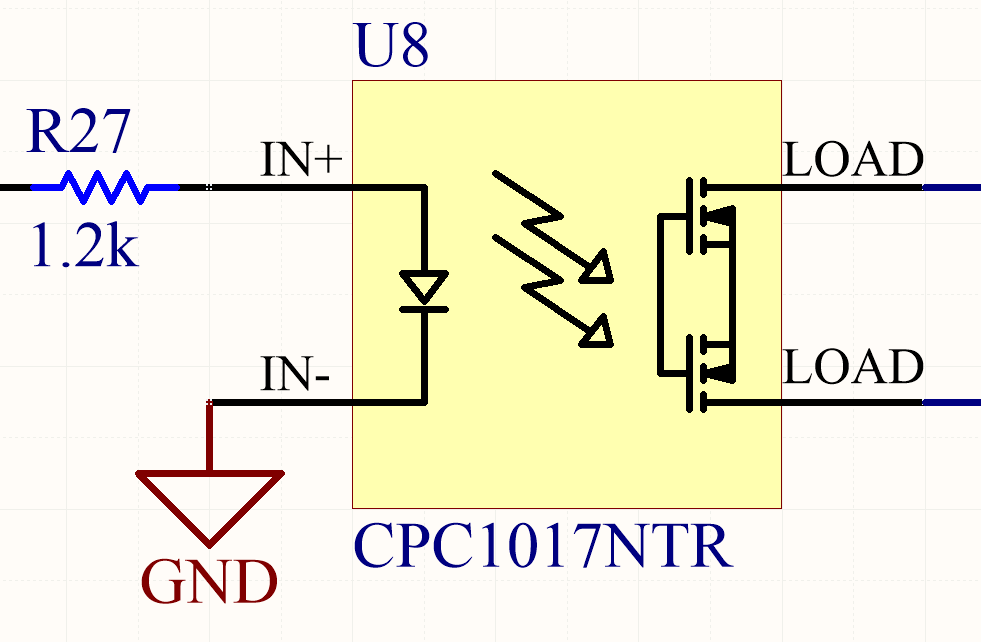 This is the typical schematic symbol for a solid-state relay, along with a resistor connected to the input to limit the current through the internal LED.