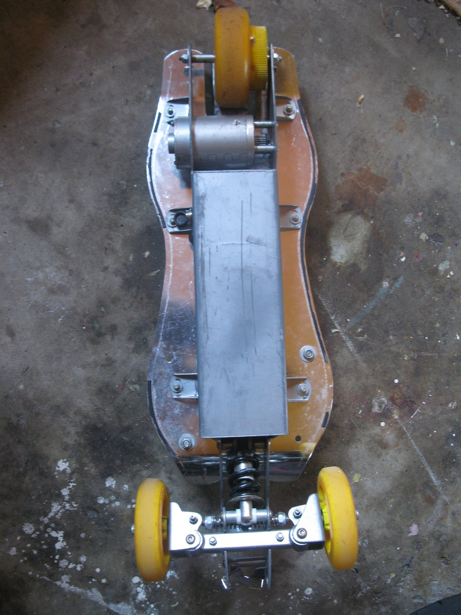 The bottom side of the first electric skateboard.