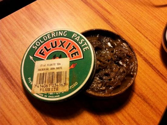 Fluxite, soldering paste which caused all sorts of problems since it is a plumbers flux which is not designed for electronics.