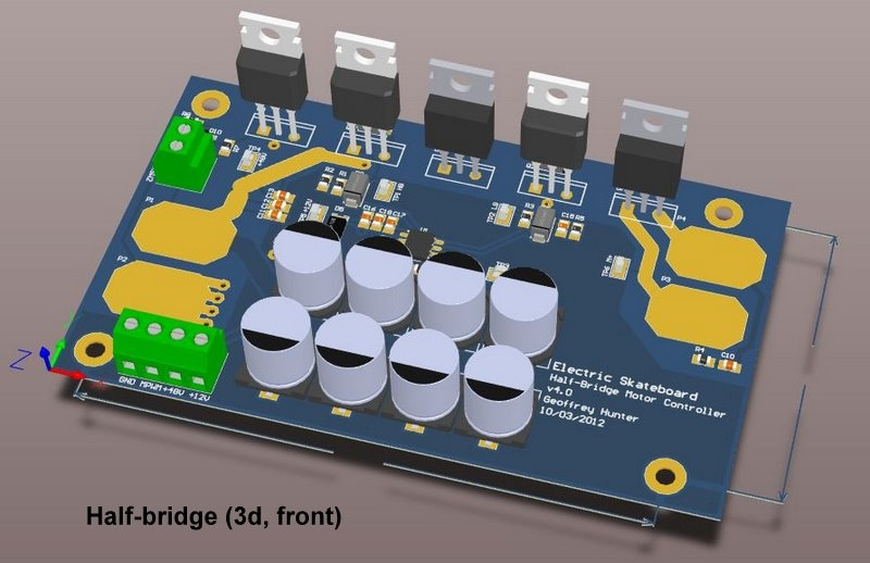 3D model of the half-bridge motor controller. In case you were wondering, the 8 large cylindrical thingys are bulk capacitors.