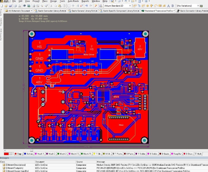 Screenshot of the nearly finished skateboard PCB routing (1 of 2 boards...).