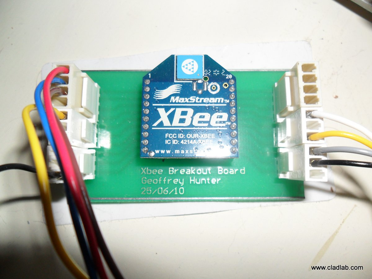 The Xbee module on a homemade breakout board.
