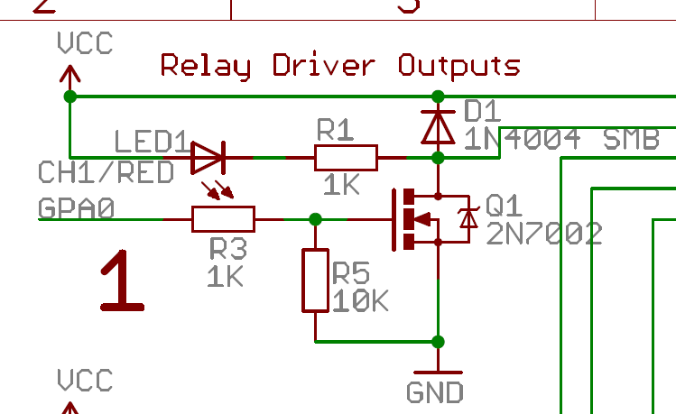 Freetronics relay driver schematic snapshot of 1 channel