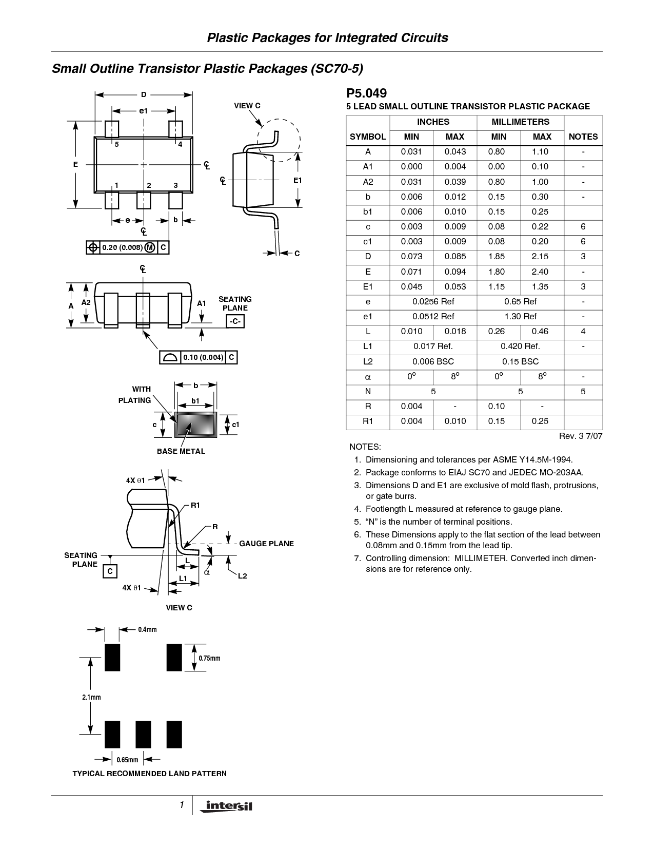 Dimensions and recommended land pattern for the SOT-323-5 (SC-70-5) component package.