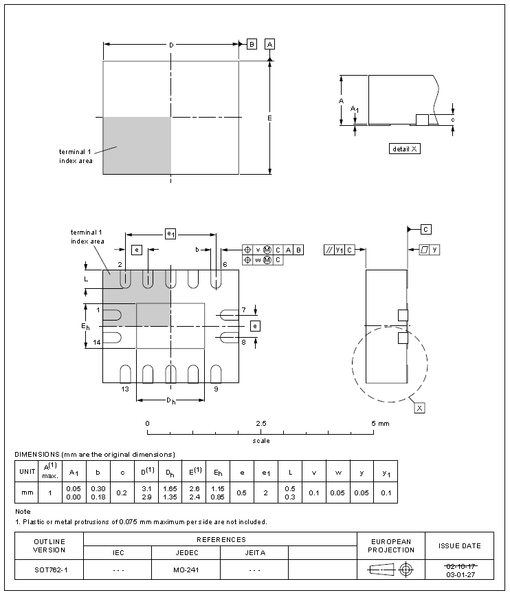 The dimensions for the SOT-762-1 component package. Image from http://www.farnell.com/datasheets/1645528.pdf.