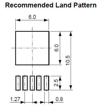 The recommended PCB land pattern for the TO-252-5 component package. Image from Ricoh TO-252 Package Information (http://www.ricoh.com/LSI/product_power/pkg/to-252-5-p2.pdf).