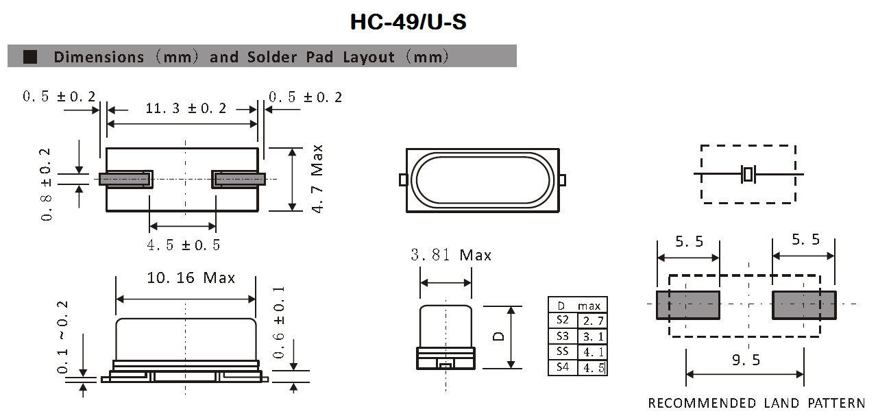 The dimensions and recommended land pattern for the HC-49/U-S component package.