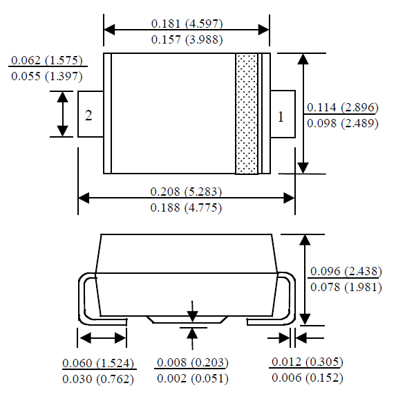 The dimensions for the DO-214AC component package.