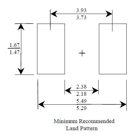 The recommended PCB land pattern for the DO-214AC component package.