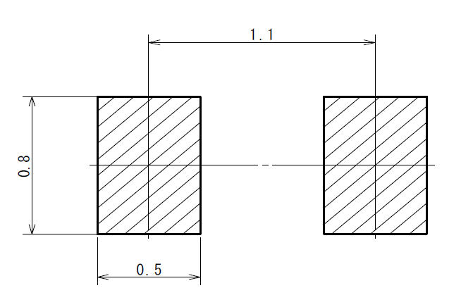The recommended PCB land pattern for the SOD-723 component package.