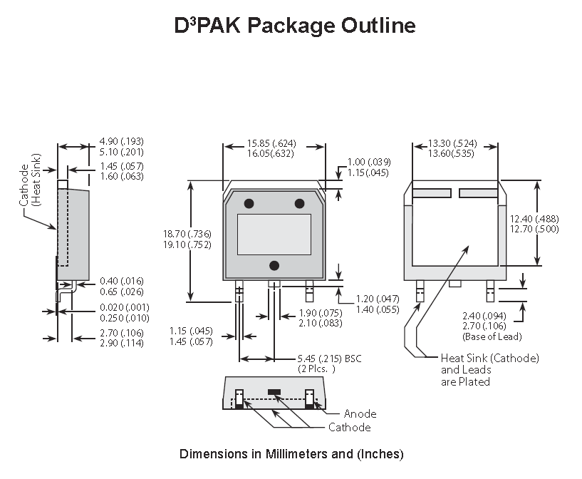 Dimensions for the D3PAK (TO-268) component package.