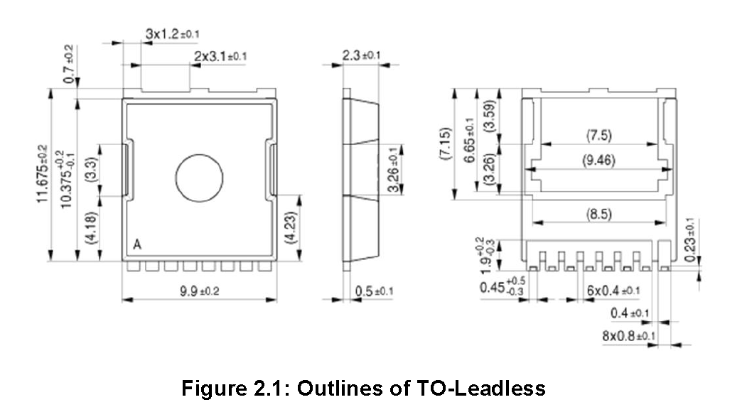 To leadless component package dimensions
