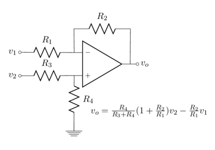 An op-amp circuit drawn with Circuitikz/Latex.