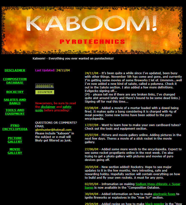 The homepage of the original blog back in 2004.