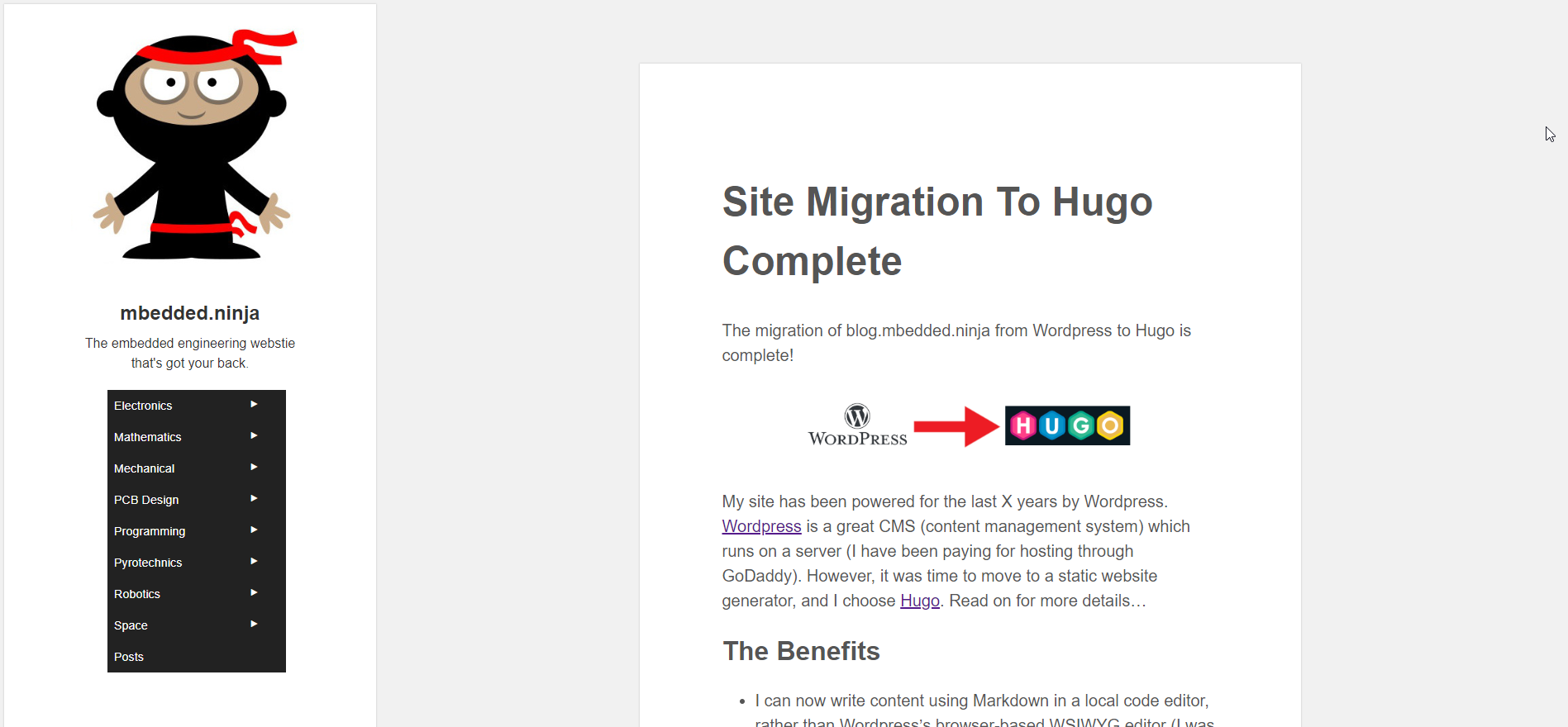 The homepage just after migrating to Hugo in December 2018.