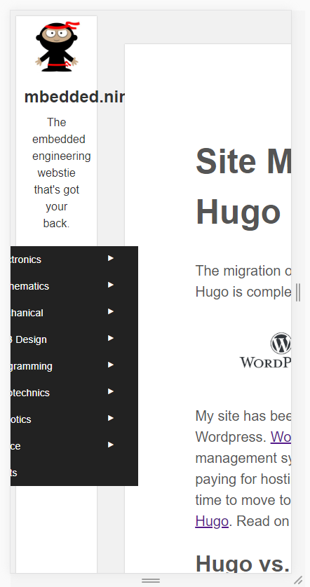 This is what the blog.mbedded.ninja homepage currently looks like when rendered on a cellphone. Urgh...