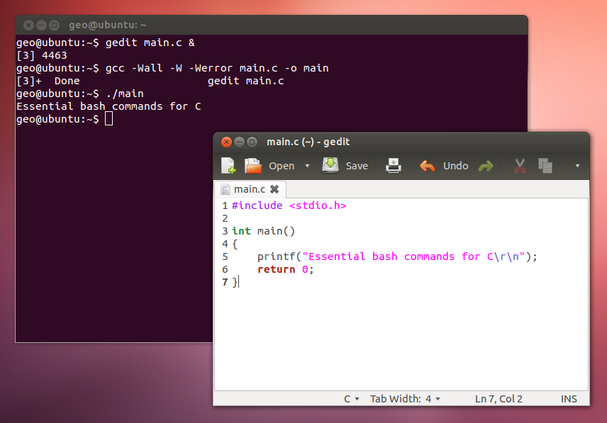 Screenshot of essential bash commands for C being used in a terminal on Ubuntu.