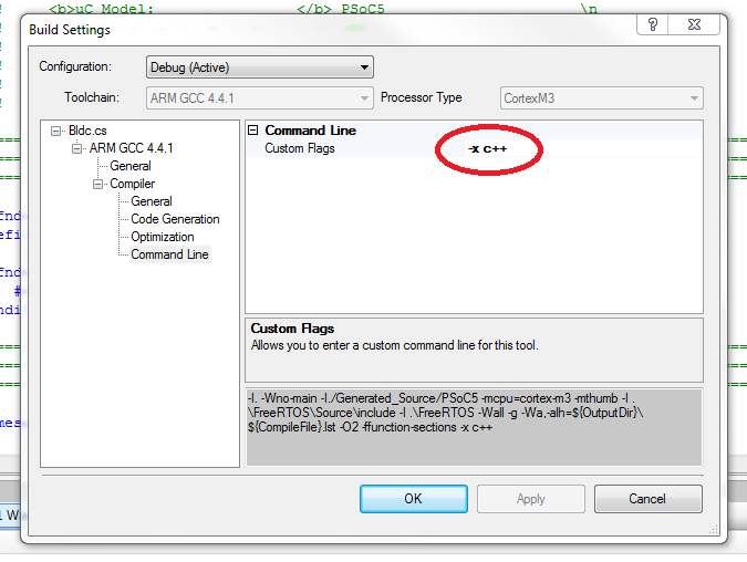 Adding custom command line flags in PSoC Creator to force GCC to use the C++ compiler.