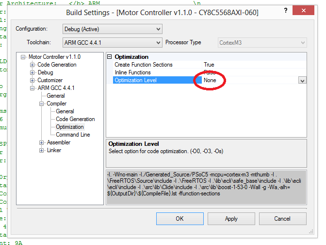 Setting the compiler optimisation to none in the PSoC Creator project build settings so that C++ code can be debugged just like normal C code.
