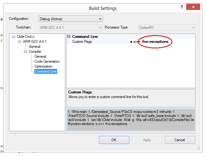 Add the custom compile flag '-fno-exceptions' flag via the 'Build Settings' menu in PSoC Creator.