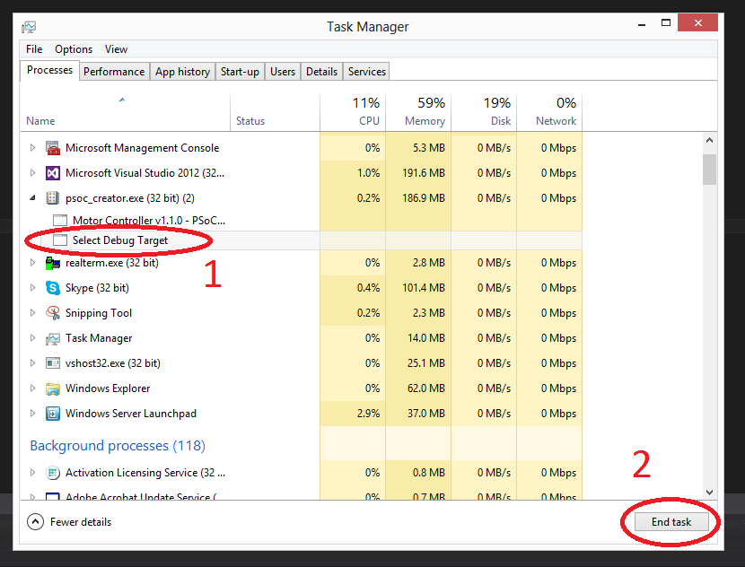 Closing the 'Select Debug Target' application from Windows task manager can unfreeze PSoC Creator when it crashes during a programming attempt.
