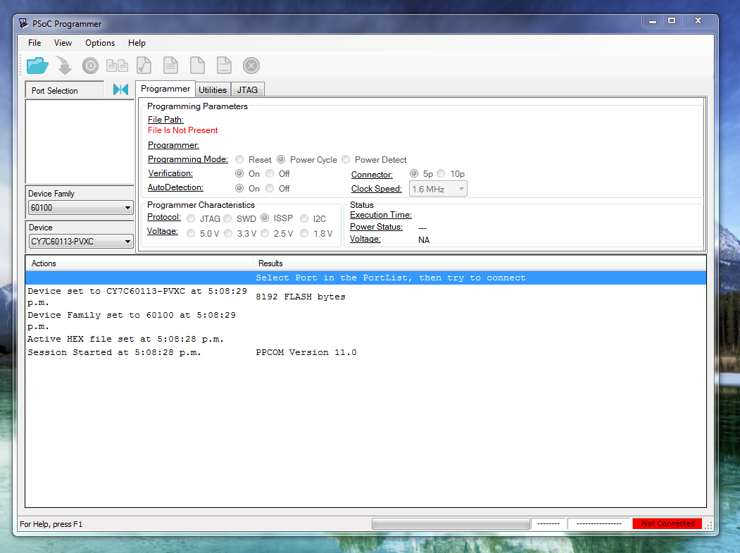 Screenshot of the PSoC programmer application in Windows.