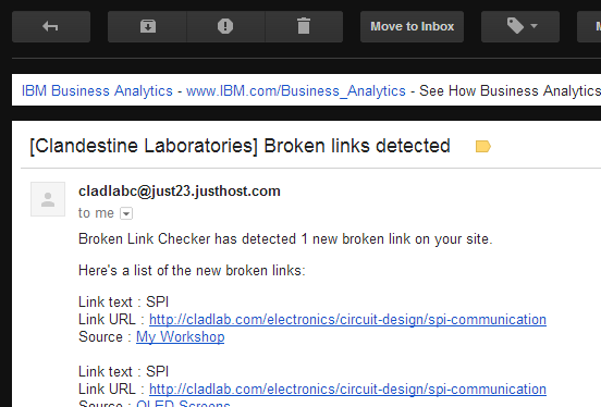 The 'Broken Link Checker' plugin sends you an email when it detects a NEW broken link.