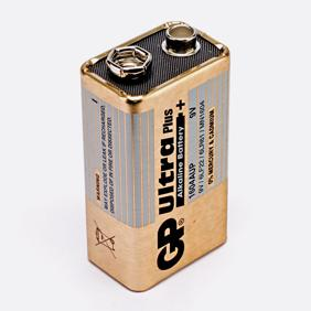 A photo of a 9V battery in the PP3 component package size.