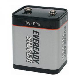 A 9V battery in the PP9 component package.